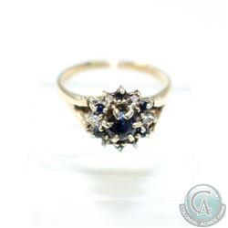 Antique 9K yellow Gold Sapphire & Rose Cut Diamond Ring - Size 6.  3.27 grams.