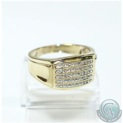 Men's 10K Yellow Gold Channel Set Diamond Ring - Size 10 1/2.  5.68 grams.