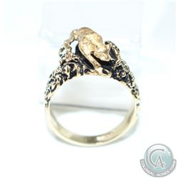 Men's 14K Yellow Gold Leopard Statement Ring - Size 11.  13.87 grams.