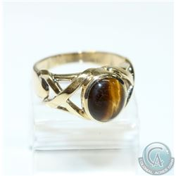 Men's 10K Yellow Gold Tiger Eye Open Shank Ring - Size 12.  7.45 grams.