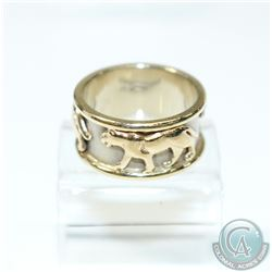 14K Yellow Gold Leopard Ring- Size 7 1/2.  8.54 grams.