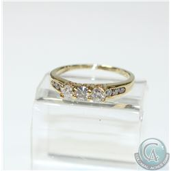 Lady's 14K Yellow Gold Trinity Diamond Ring- Size 8.  Ring Contains at total Diamond weight of 0.57c