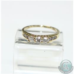 Lady's 14K Yellow Gold Trinity Diamond Ring- Size 8.  Ring Contains at total Diamond weight of 0..75
