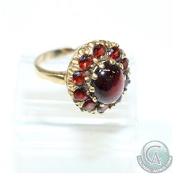 Antique Victorian 9Ct Yellow Gold Garnet Cluster Ring.  This beautiful piece contains 11 Claw set Ga