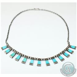 Vintage Sterling Silver & Turquoise Cleopatra Style Necklace with Hook Clasp.  This piece has been s