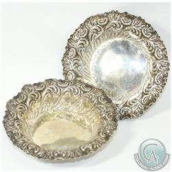 Pair of 1898 'Sheffield' Elkington & Co Ltd Repousse Sterling Silver Dishes. This pair of dishes con