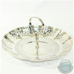 Vintage Roden Bros. Canadian Sterling Silver Pierced Dessert/Candy Platter with Central Handle. Has