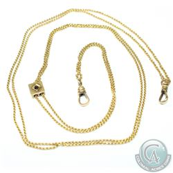 Antique 14K Yellow Gold T. Eaton & Co Ltd, Lady's watch chain with Garnet Accent.  Chain Measures 26
