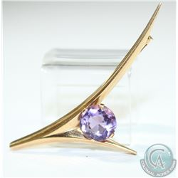 "1965 'Finland' Modernist Kupittaan Kulta 14K Yellow Gold & Amethyst Brooch.  Measures 2 1/4"" in leng"