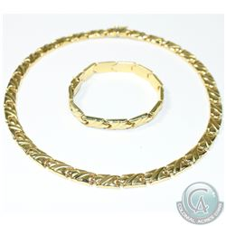 Italy' 14K Yellow Gold Collar Style Lady's Fancy Link Necklace with Matching Bracelet.  Both Necklac