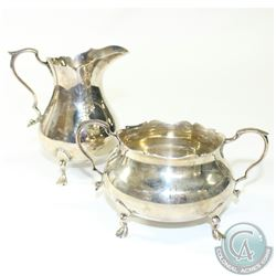 Antique 'Boston' Rand & Crane Sterling Silver Hand Wrought Sugar and Creamer set.  This beautiful se