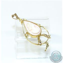 "Antique 14K Yellow Gold Cameo & Seed Pearl Pendant.  Measures 1 1/2"" in length with a weight of 2.55"