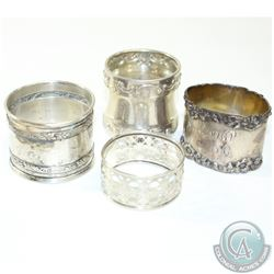 Antique Sterling Silver Napkin Ring Holder Collection. You will receive 4 pieces in this collection