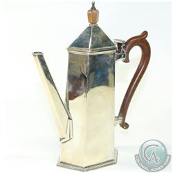 Vintage 1930's Walker & Hall Sterling Silver Art Deco Style Coffee Pot.  A unique piece with a sleek