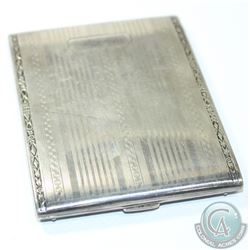 Vintage Elgin American Sterling Silver Cigarette Case. Case presents well with an etched pattern fac