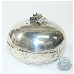 Vintage International Sterling Lidded Box with Floral Finial.  This charming little box measures 3 1