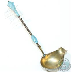 "Antique David Anterson 'Norway' Sterling Silver & Enamel Cream Ladle.  Item measures 5 1/2"" in lengt"