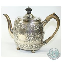 1800 George Smith (II) & Thomas Hayter Sterling Silver Repousse Teapot.  This Heavily Decorated teap