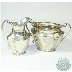 1907 'London' R H Halford & Sons Sterling Silver Sugar & Creamer Set. This set contains an etched pi