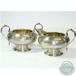 "1924 ""Birmingham' Charles S Green & Co Ltd Sterling Silver Sugar & Creamer Set. This beautiful set c"