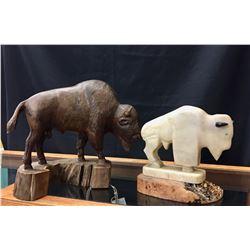 2 Buffalo Sculptures