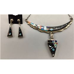 Contemporary Navajo Inlay Necklace with Earrings