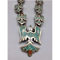 Vintage Navajo Inlay Squash Blossom Style Necklace