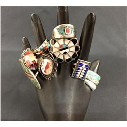 Group of 10 Inlay Rings