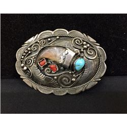 Vintage Turquoise, Coral and Claw Buckle