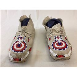 Antique Crow Beaded Moccasins