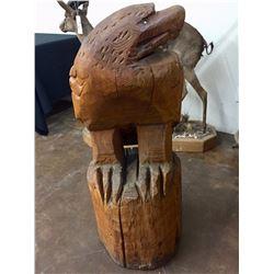 Large Hand Craved Wooden Eagle