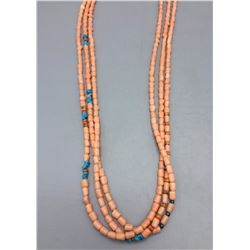 Peach Coral and Turquoise Necklace