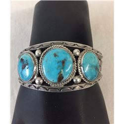 1960s Turquoise and Sterling Silver Bracelet