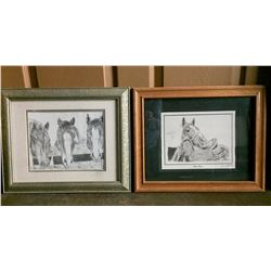 Two Western Pencil Drawing Prints