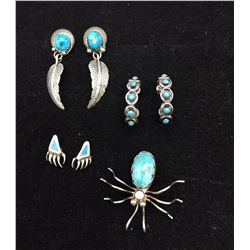 3 Pairs of Earrings and 1 Pin