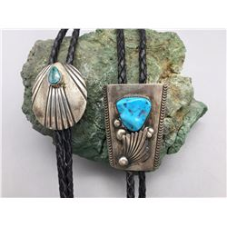 Pair of Sterling Silver Navajo Bolos
