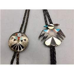 Pair of Zuni Inlay Bolos