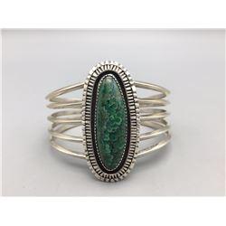 Sterling Silver Green Stone Bracelet - Begay