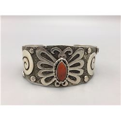 Coral and Sterling Silver Bracelet - Ambrose Tsosie