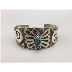 Turquoise and Sterling Silver Bracelet - Ambrose Tsosie