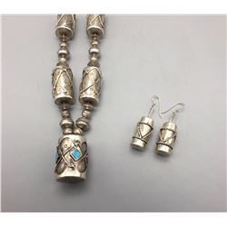 Drum Bead Necklace and Earring Set
