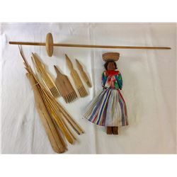 Tarahumara Doll and Navajo Weaving Tools