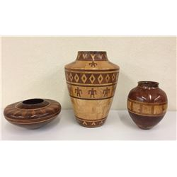 3 Handmade Wood Inlay Pots