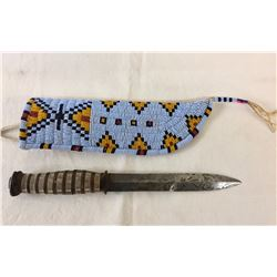 Beaded Knife Sheath with Knife