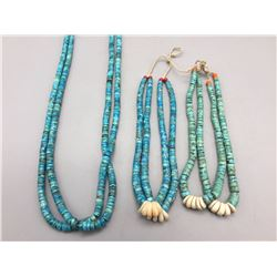 Turquoise Disk Bead Necklace and Two Joclas