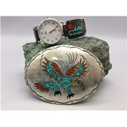 Turquoise and Coral Inlay Belt Buckle and Watch