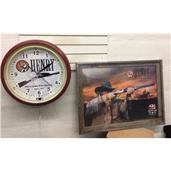 New Henry Rifle Clock and Framed Poster
