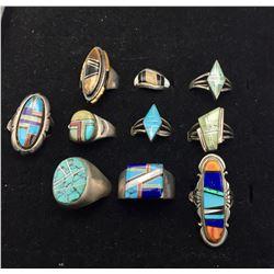 Group of Ten Inlay Rings