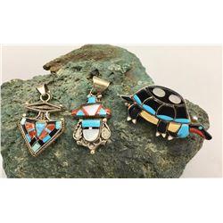 Group of Vintage Zuni Inlay Pendants