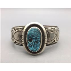 Heavy Sterling and Spiderweb Turquoise Bracelet